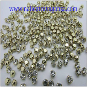 (f) Crystal with metal base Gold color 4mm (4 per bag)