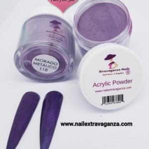 #118 Acrylic Powder 1oz jar Extravaganza Morado Metalico