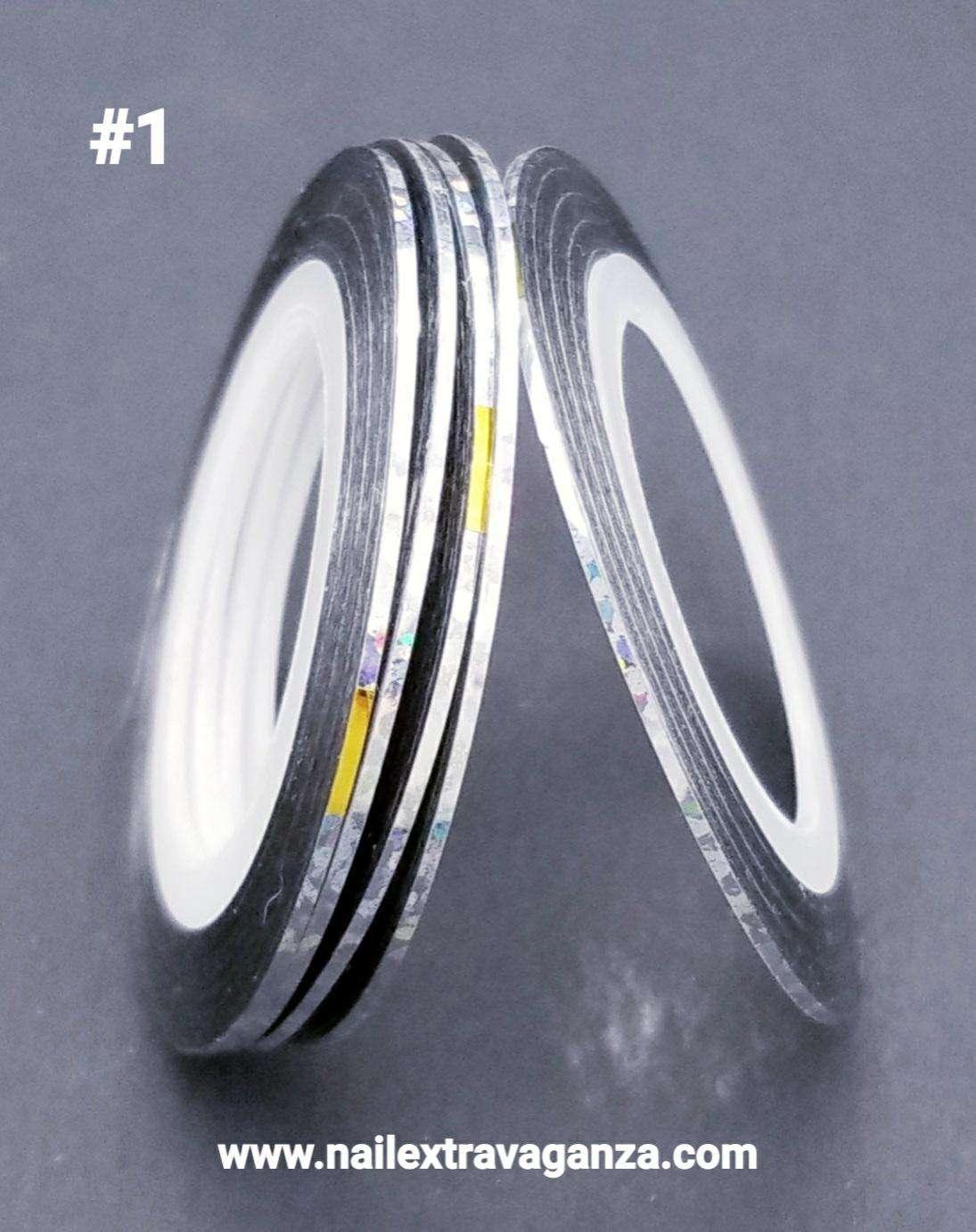 Nail Art Strips Lines (Cintilla) Laser Silver 1mm #1
