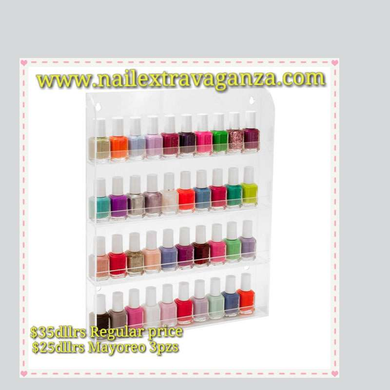 Acrylic Nail Salon Transparent Exhibition Wall 4 Layers Nail Polish Rack Storage Nail Art Tools (3pz)