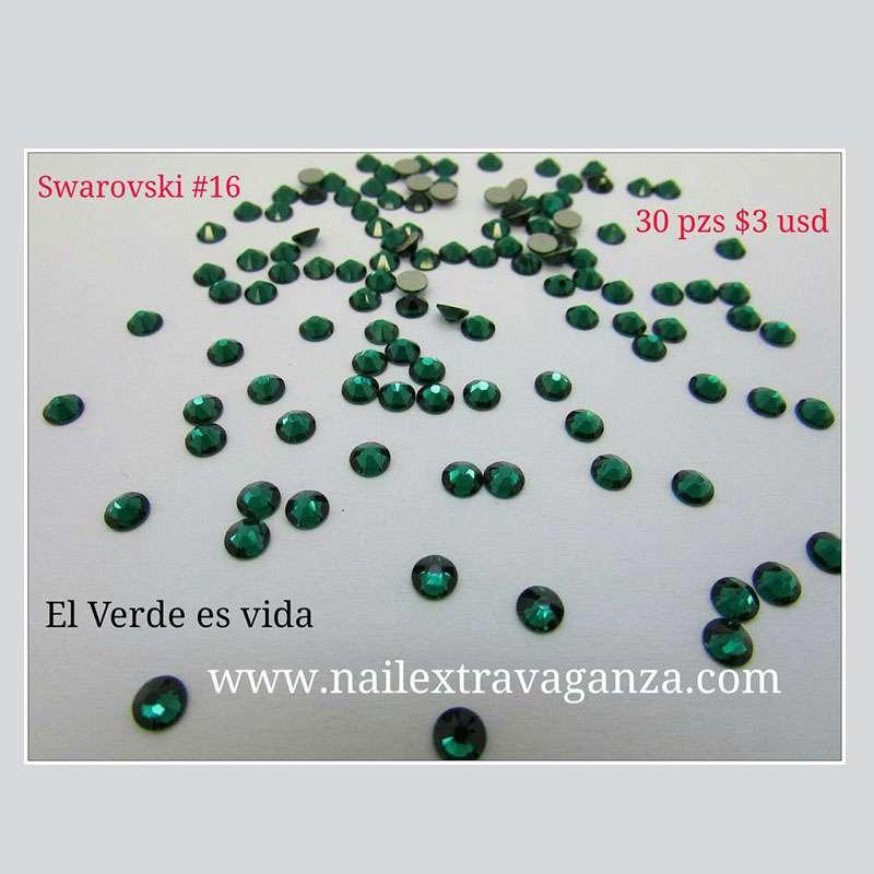 Swarovski #16 Green Color Flat Back (30 pzs)