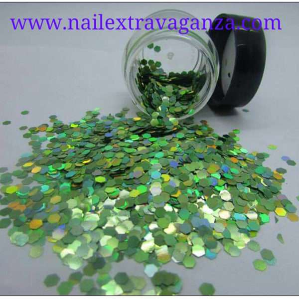 Hexagon Glitter Medium Siza Green 1/4oz