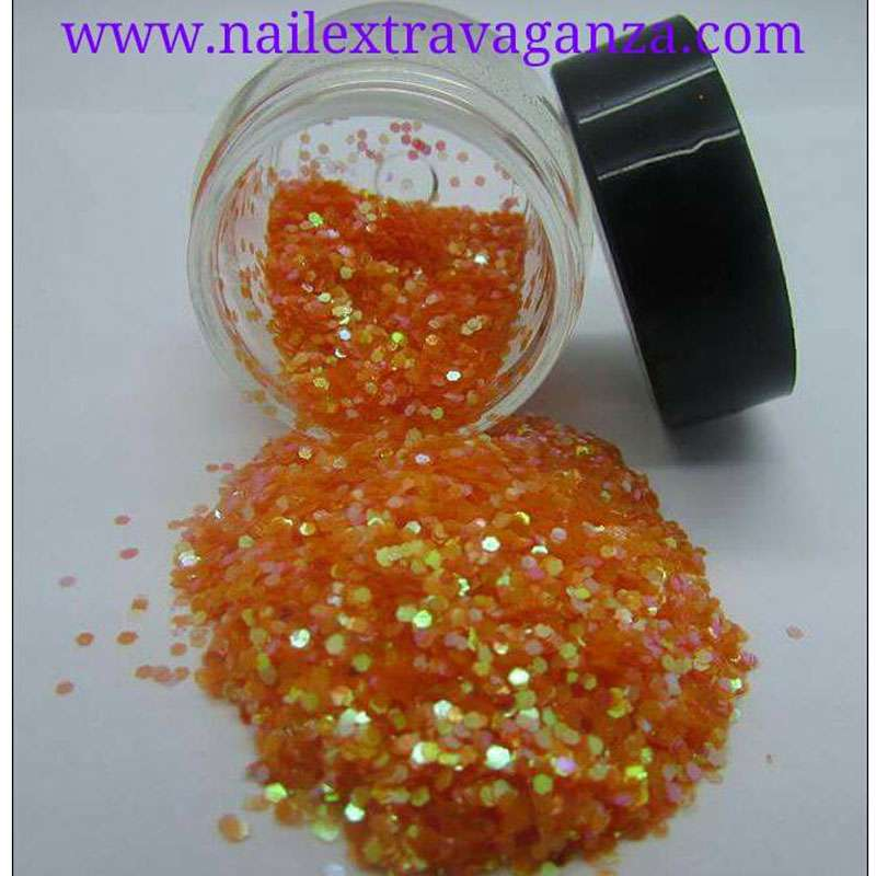 Hexagon Orange Glitter 1/4oz jar