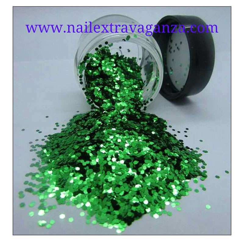 Mini Hexagon Green Glitter 1/4oz jar