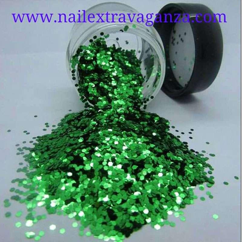 Mini Hexagon Green Glitter 1/4oz jar