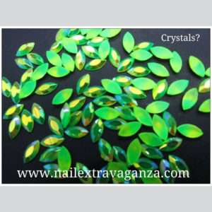 (f) Crystal Oval Shape Verde (4 per 1 bag)