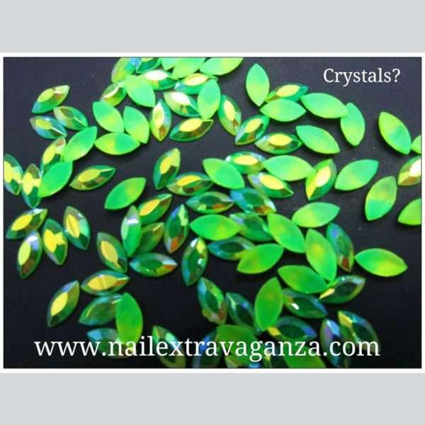(f) Crystal Oval Shape Verde (4 per 1 bag)