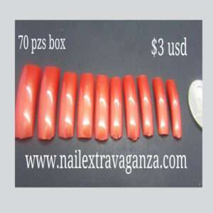 Salon Nail Tips with Red color 70 pzs box