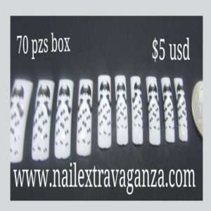 Salon Nail Tips Bat Design 70 pzs box