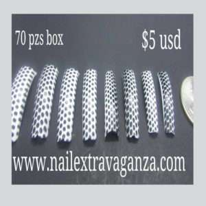 Salon Nail Tips Dots Design 70 pzs box