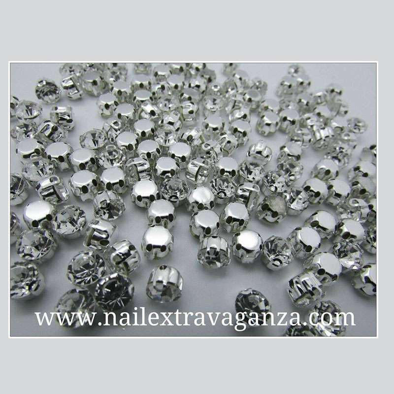 (f) Crystal with metal base silver color 4mm (2 per bag)