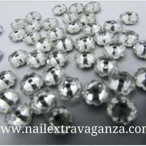 (f) Flower shape crystal with metal base Silver color (4 per bag)
