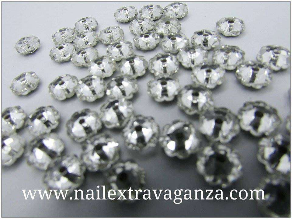 (f) Flower shape crystal with metal base Silver color (4 per bag)