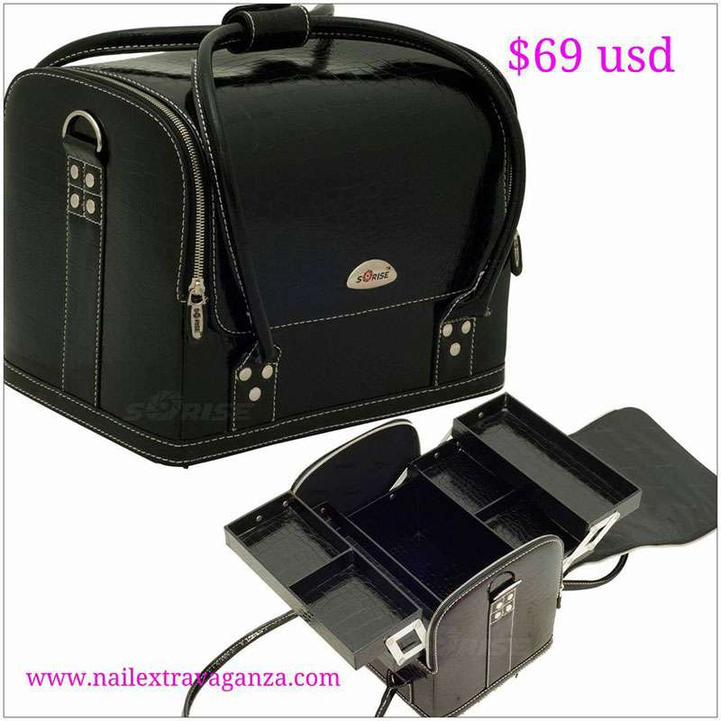 Black Croc Roll Top Makeup Case - C3025