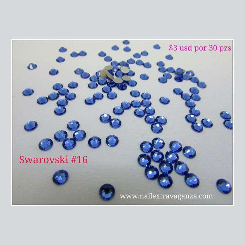 Swarovski #16 Blue Color Flat Back (30 pzs)