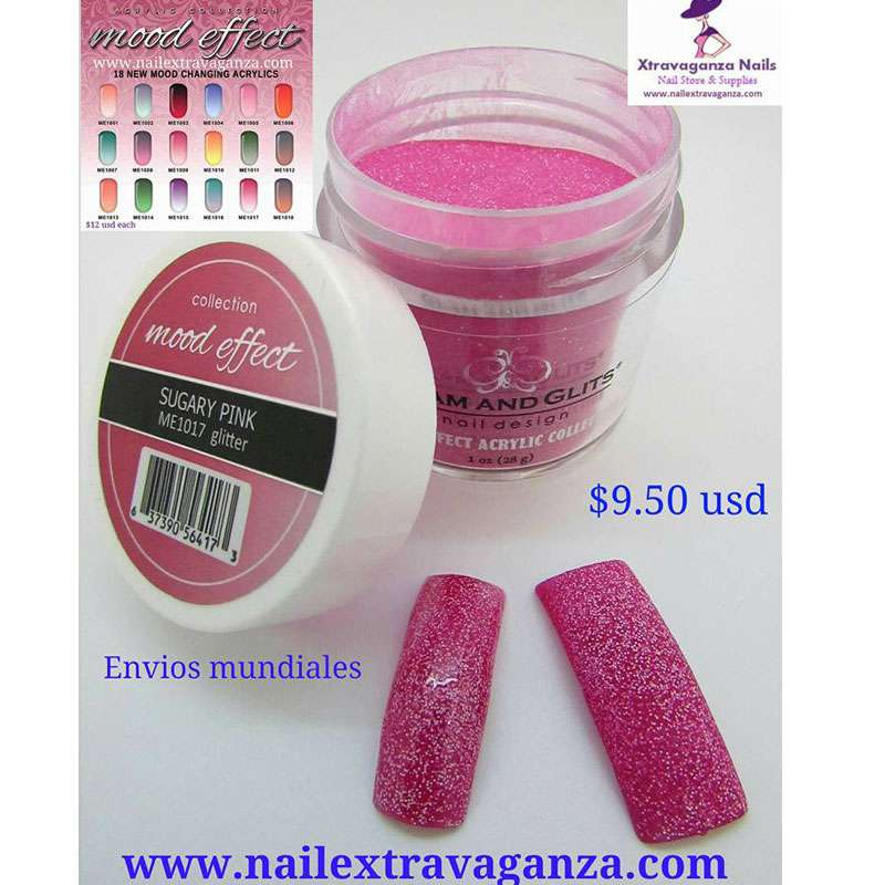 Glam and Glits Mood Effect 1017 (Acrylico Cambia Color) Sugary Pink Glitter