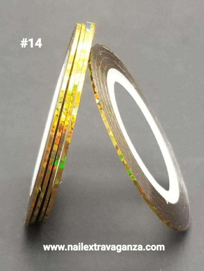 Nail Art Strips Lines (Cintilla) Color Laser Golden 1mm #14