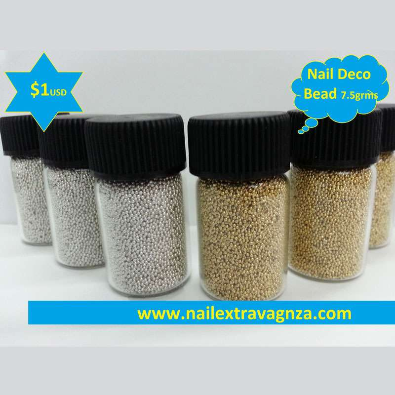 Nail Mini-Beads for Nail Decoration (Gold or Silver)