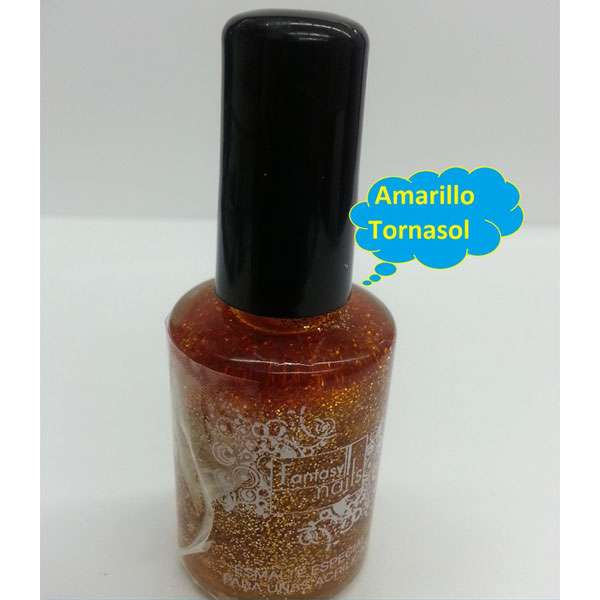 #26 Fantasy Nails Escarcha Amarillo Tornasol