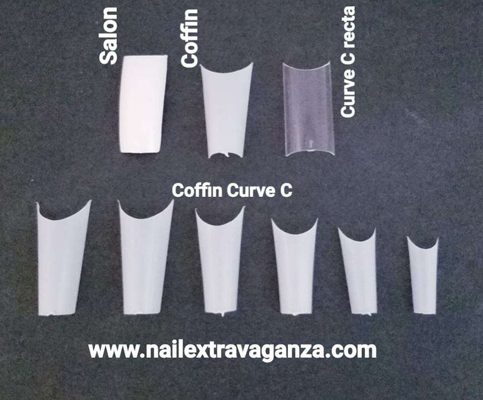 * Coffin Curve C nail tips (Choose your color) (Picture show Coffin, Salon and Curve C as reference)