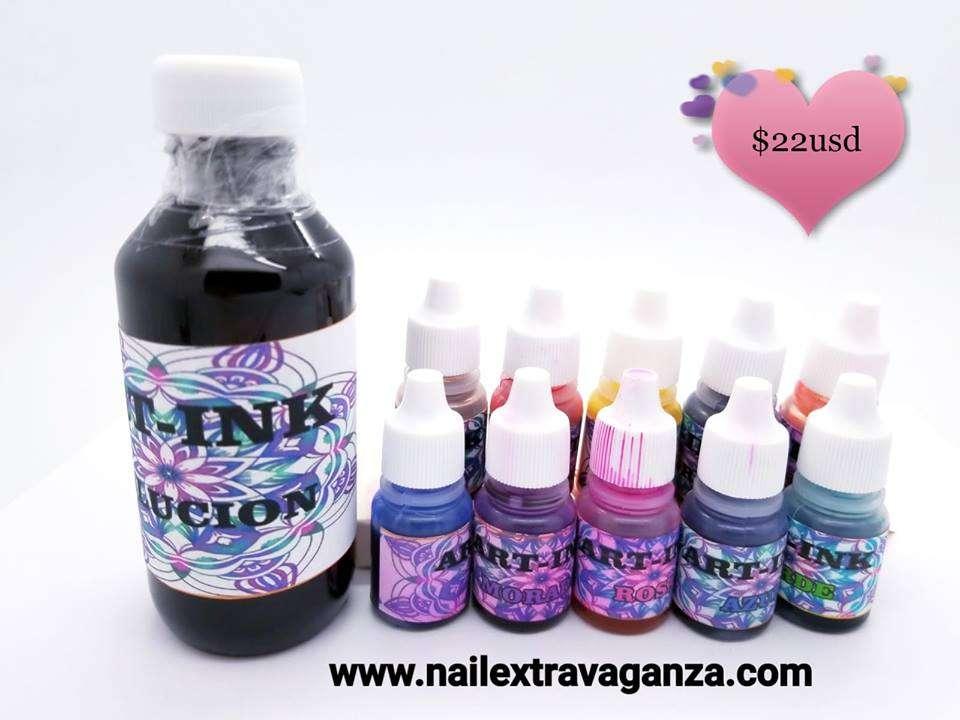 Ink Art Kit (10 colors 15ml, 1 Solution 4oz)